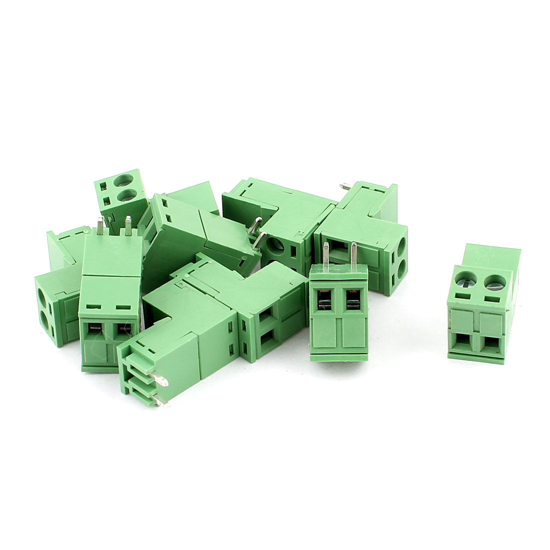 10 Pcs AC 300V 10A PCB Screw Terminal Block Connector 5.08mm Pitch Green