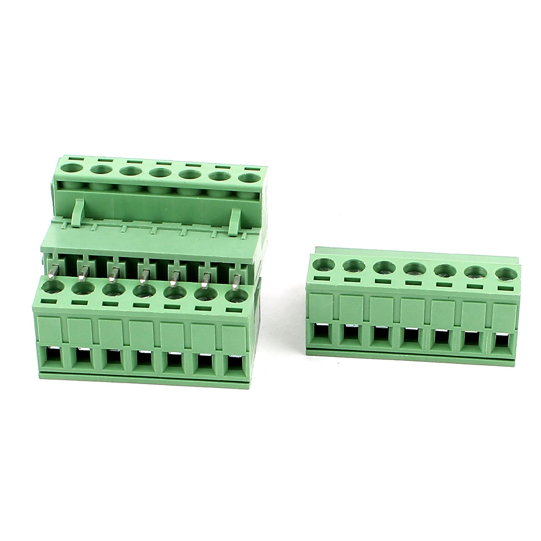 4 Pcs AC 300V 10A 7 Pins PCB Screw Terminal Block Connector 5.08mm Pitch Green