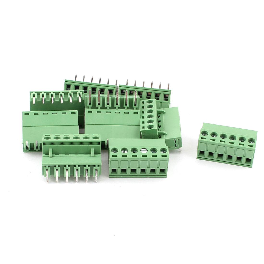 10 Pcs AC 300V 10A 6 Pins PCB Screw Terminal Block Connector 5.08mm Pitch Green