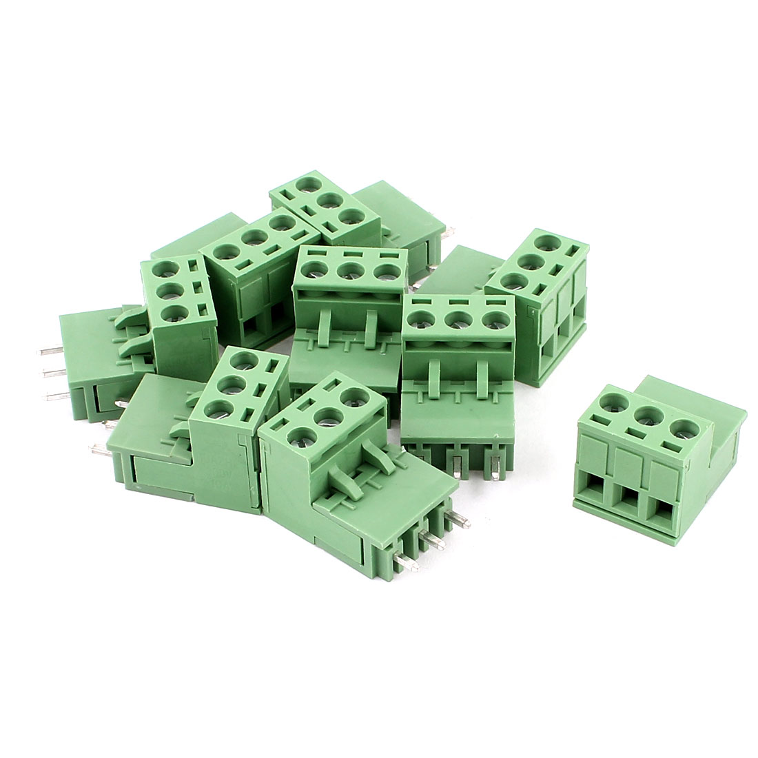 9 Pcs AC 300V 10A PCB Terminal Block Connector 5.08mm Pitch Green