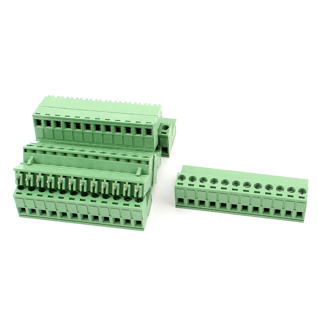 6 Pcs AC 300V 10A 12P PCB Terminal Block Connector 5.08mm Pitch Green