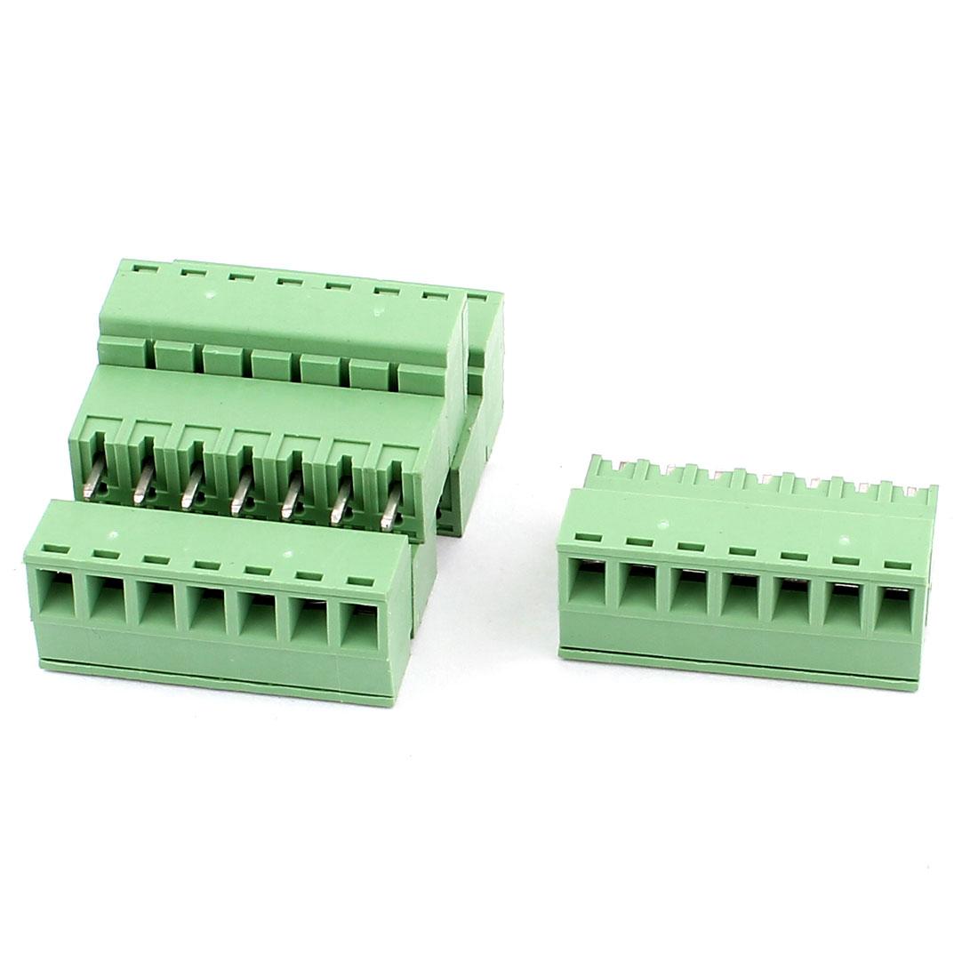 4 Pcs AC 300V 8A 7 Pins PCB Terminal Block Connector 3.81mm Pitch Green