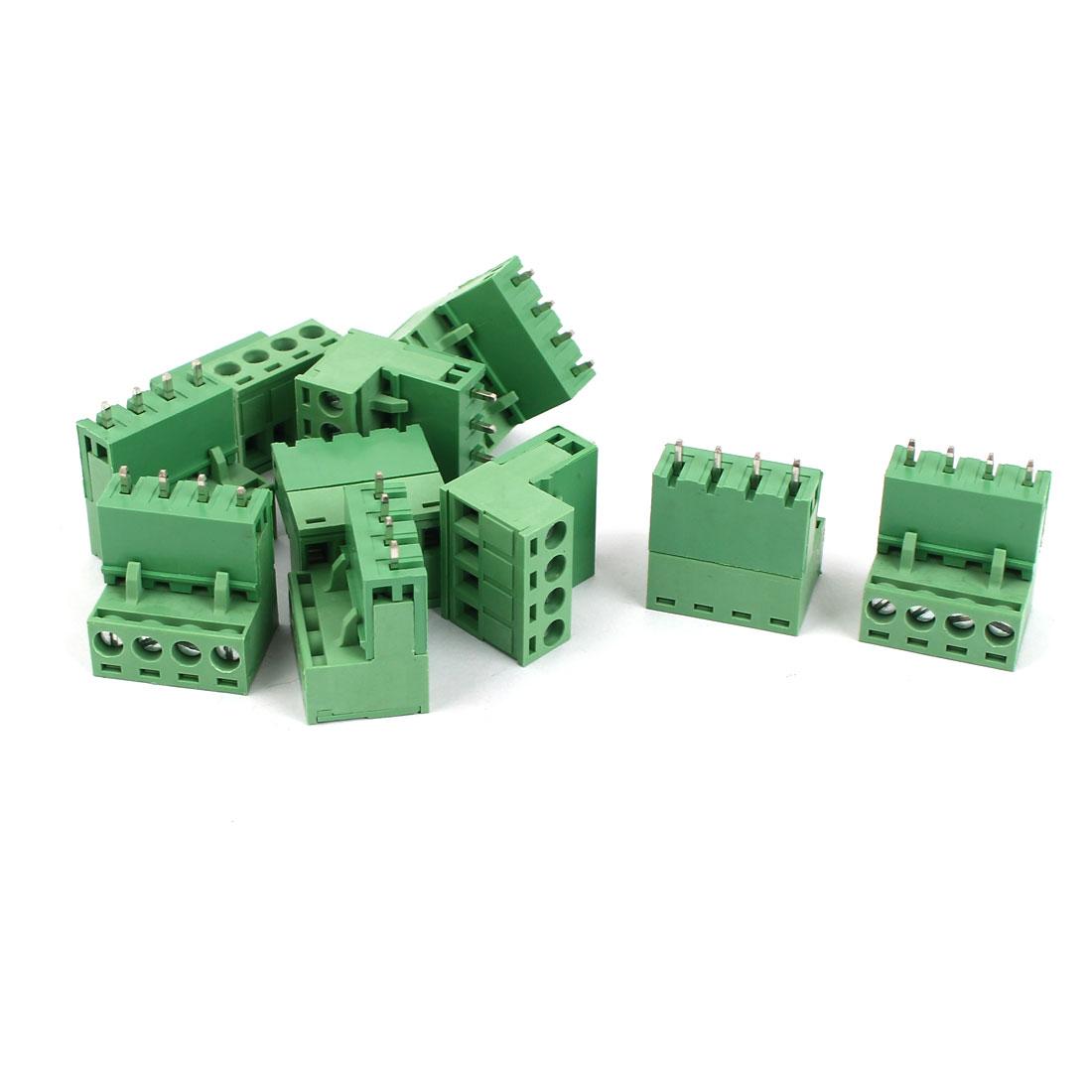 10 Pcs AC 300V 10A 4 Pins PCB Terminal Block Connector 5mm Pitch Green