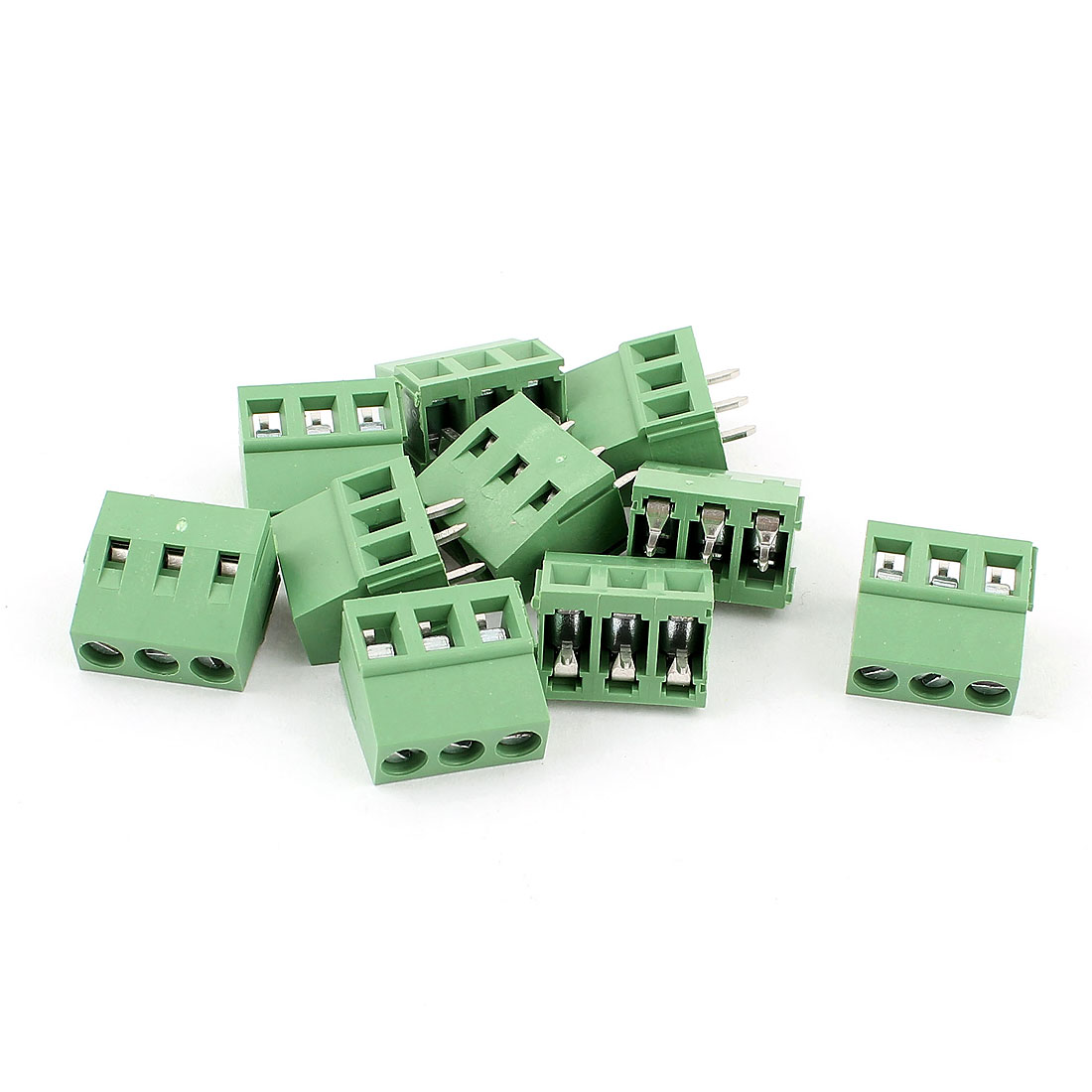 10 Pcs AC 300V 10A PCB Terminal Block Connector 5.0mm Pitch Green