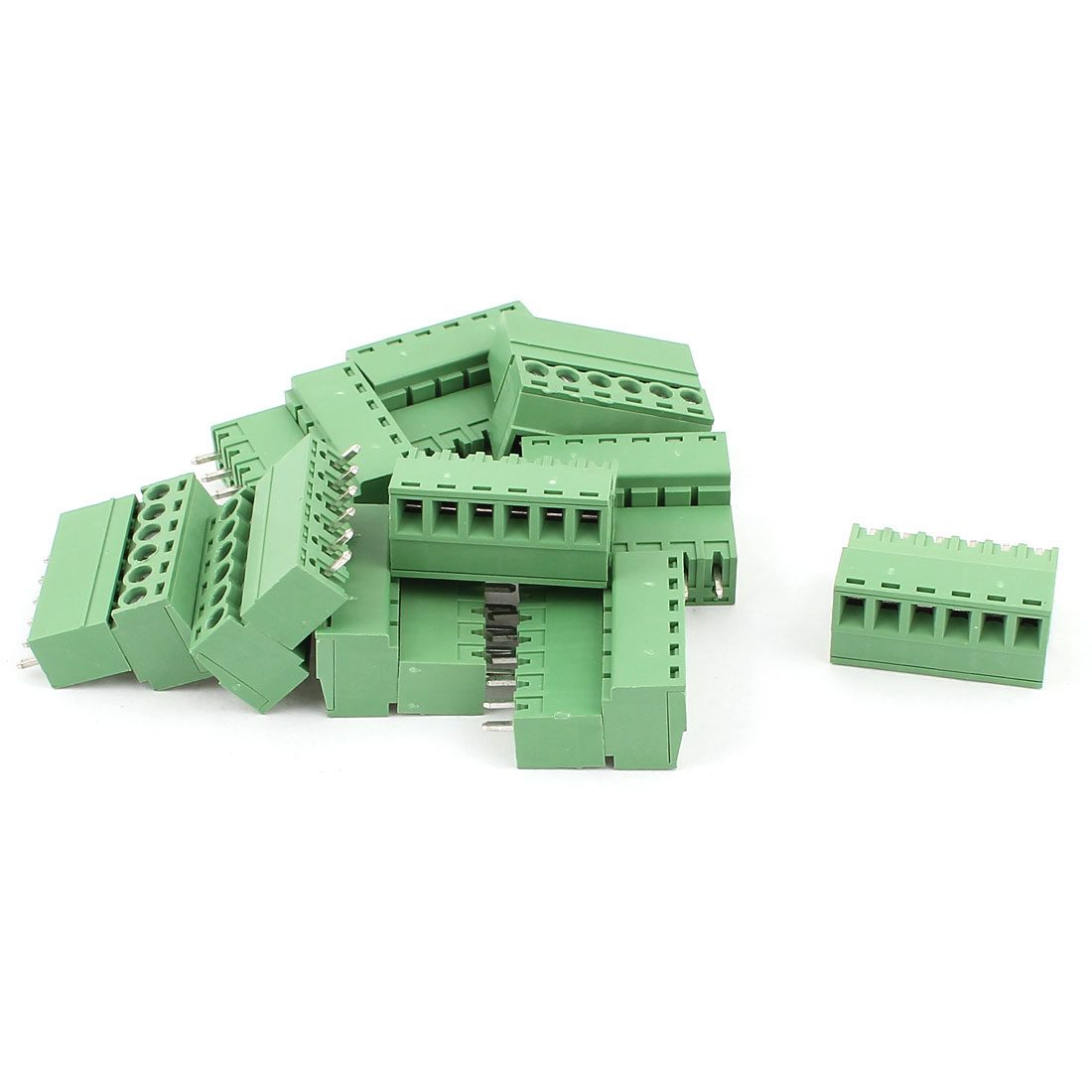 10 Pcs AC 300V 8A 6 Pins PCB Screw Terminal Block Connector 3.81mm Pitch Green