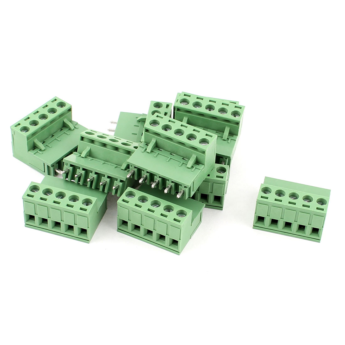 10 Pcs AC 300V 10A 5 Pins PCB Terminal Block Connector 5.08mm Pitch Green