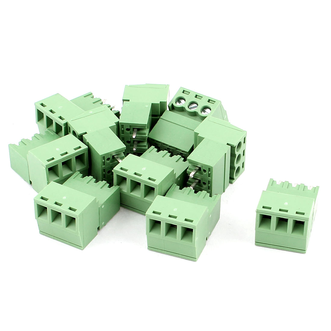 10 Pcs AC 300V 8A PCB Screw Terminal Block Connector 3.81mm Pitch Green