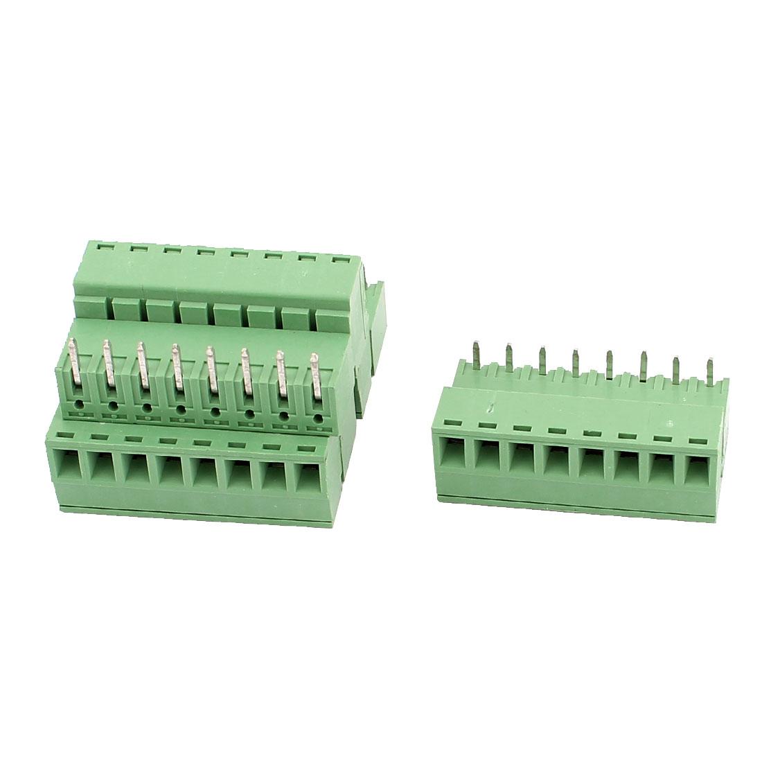 4 Pcs AC 300V 8A 8 Pins PCB Screw Terminal Block Connector 3.81mm Pitch Green