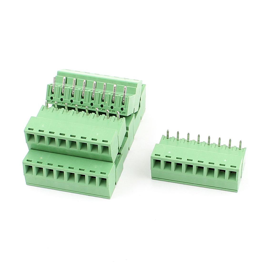 6 Pcs AC 300V 8A 8 Pins PCB Screw Terminal Block Connector 3.81mm Pitch Green