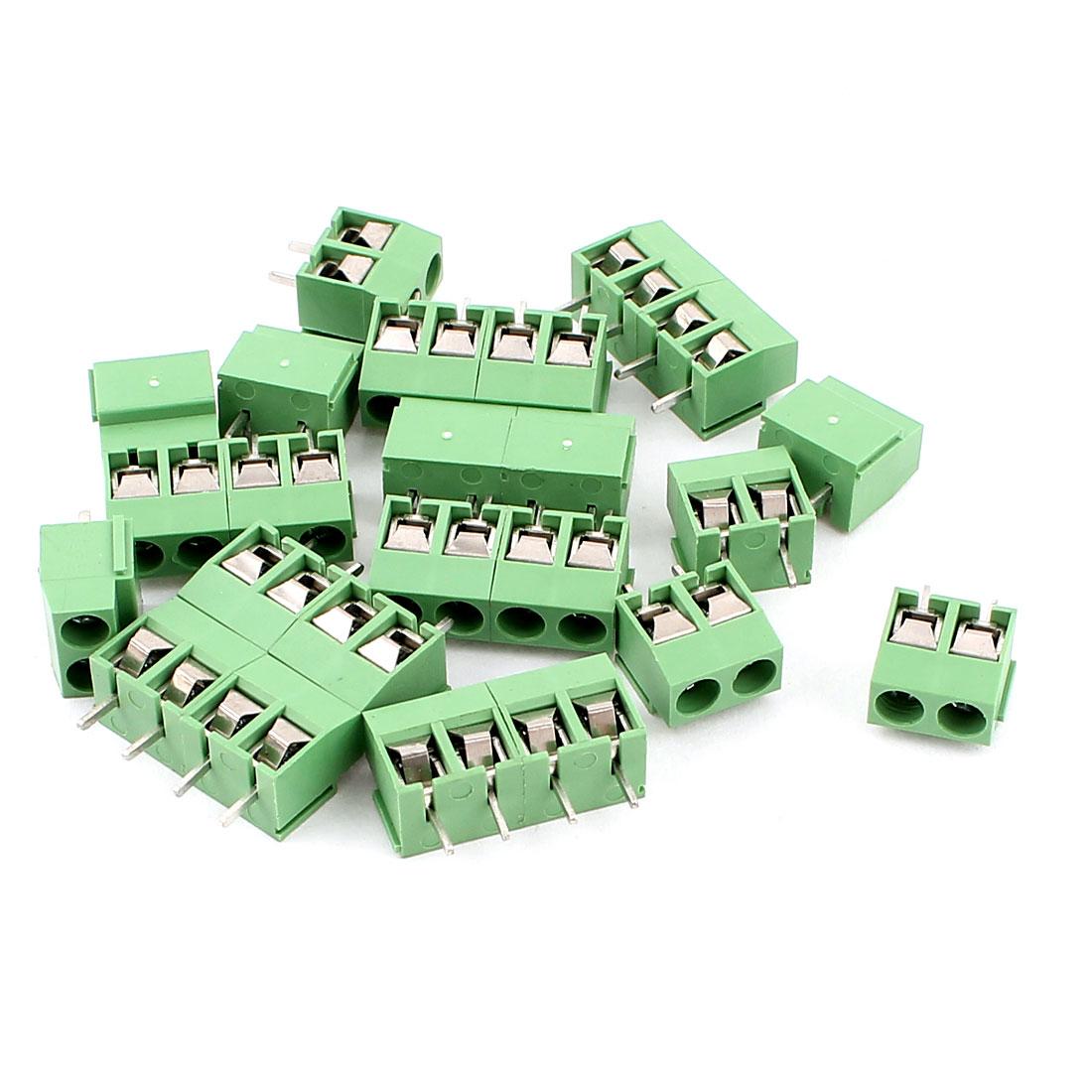 12 Pcs AC 300V 10A 4 Pins PCB Screw Terminal Block Connector 4.5mm Pitch Green