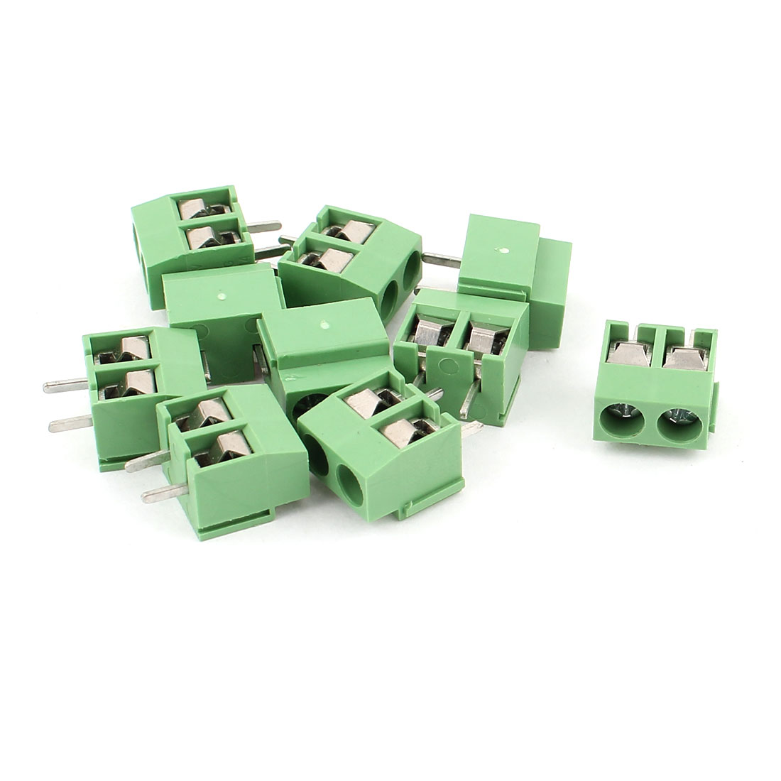 10 Pcs AC 300V 10A PCB Screw Terminal Block Connector 4mm Pitch Green