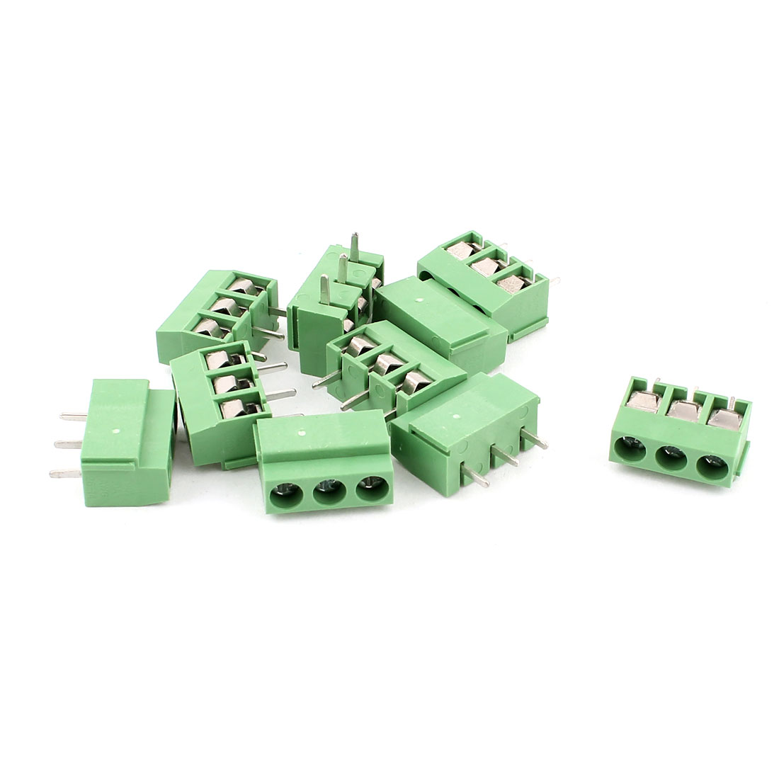 10 Pcs AC 300V 10A Screw Terminal Block Connector 5.0mm Pitch Green