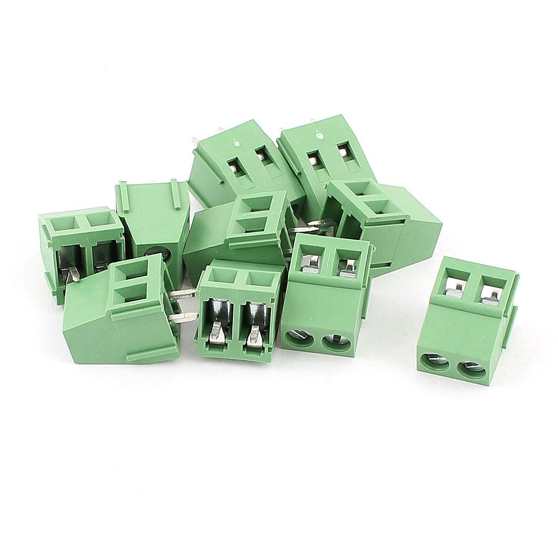 10 Pcs AC 300V 10A PCB Terminal Block Connector 5.0mm Pitch Green