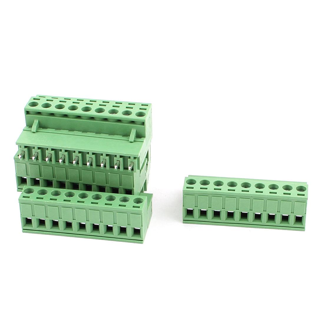 6 Pcs AC 300V 10A 9 Pins PCB Screw Terminal Block Connector 5.08mm Pitch Green
