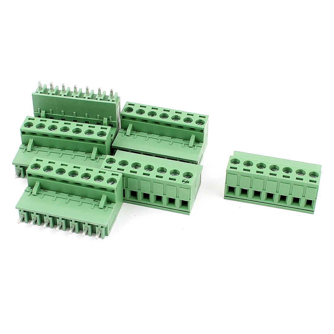 6 Pcs AC 300V 10A 7 Pins PCB Screw Terminal Block Connector 5.08mm Pitch Green