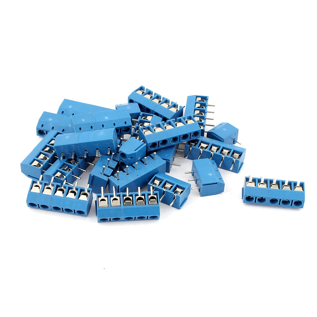 20 Pcs AC 300V 10A 5 Pins PCB Terminal Block Connector 5.0mm Pitch Blue