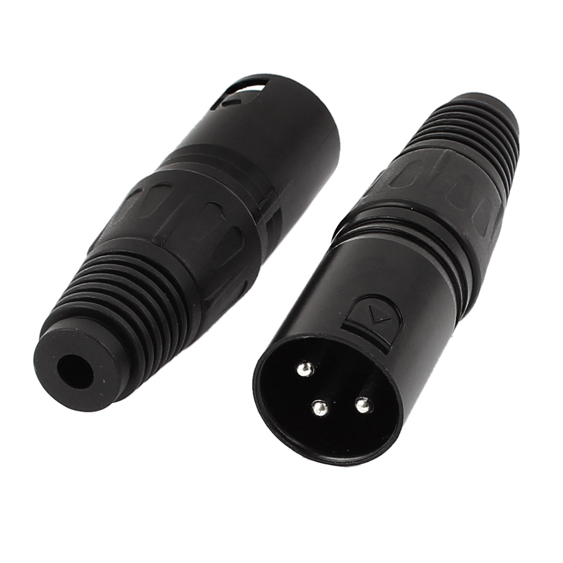 2 Pcs XLR Male Microphone Cable Audio Adapter Connector Black