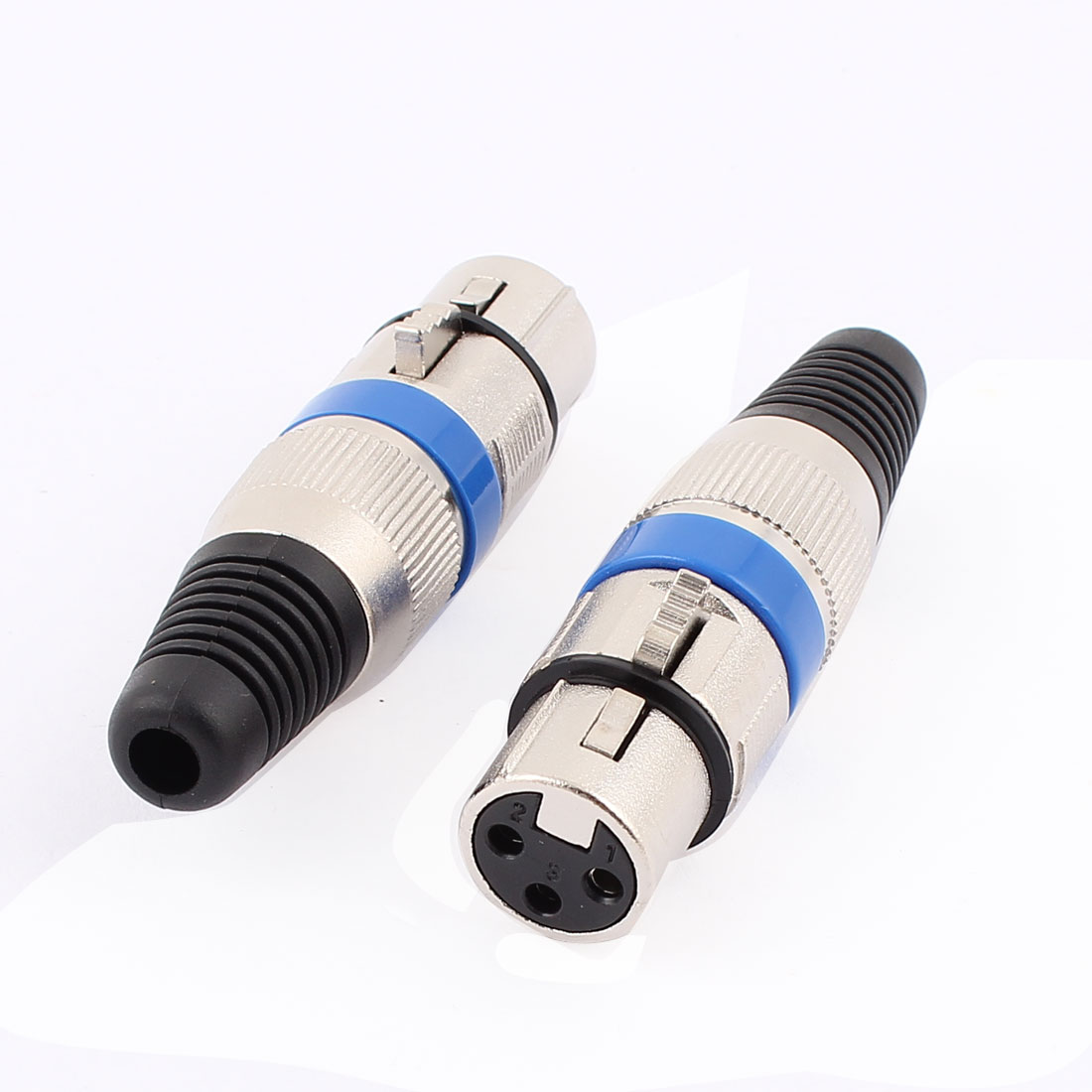 2pcs XLR 3P Female Jack Mic Microphone Audio Cable Connector Blue Silver Tone