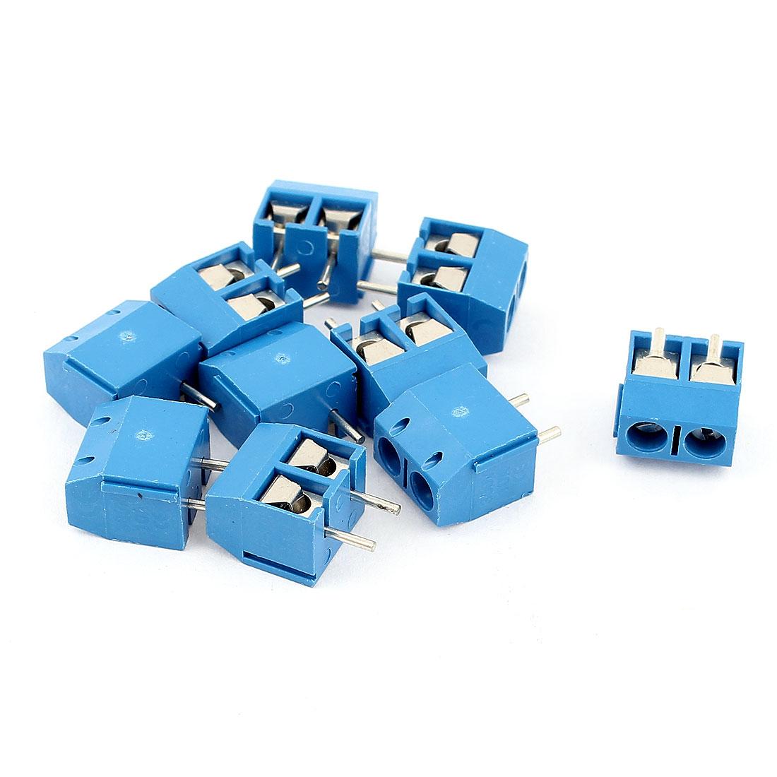 10 Pcs AC 300V 10A PCB Terminal Block Connector 5.0mm Pitch Blue