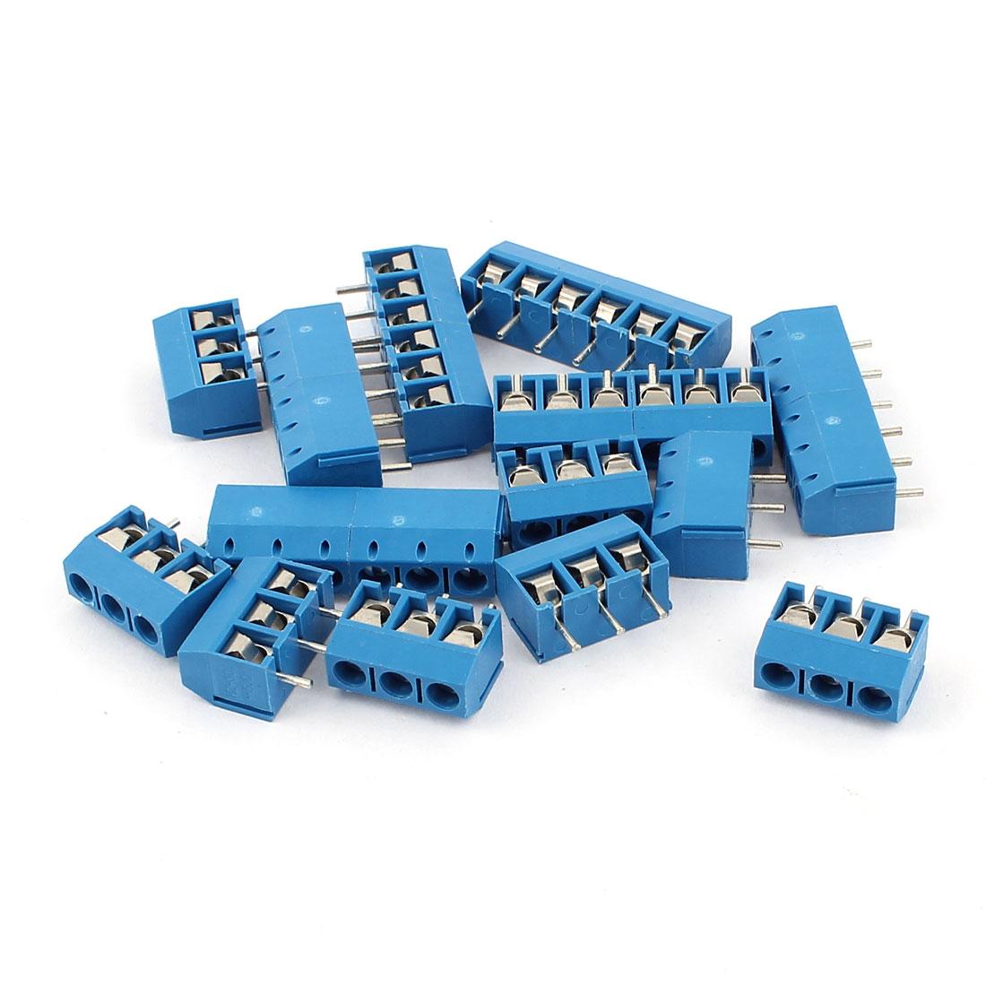 10 Pcs AC 300V 10A 6 Pins PCB Terminal Block Connector 5.0mm Pitch Blue