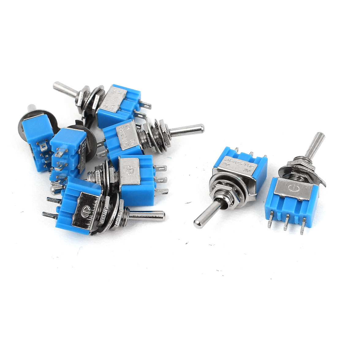 AC 125V 6A SPDT ON-ON 2 Positions 3 Pin Mini Toggle Switch 8 Pcs Blue