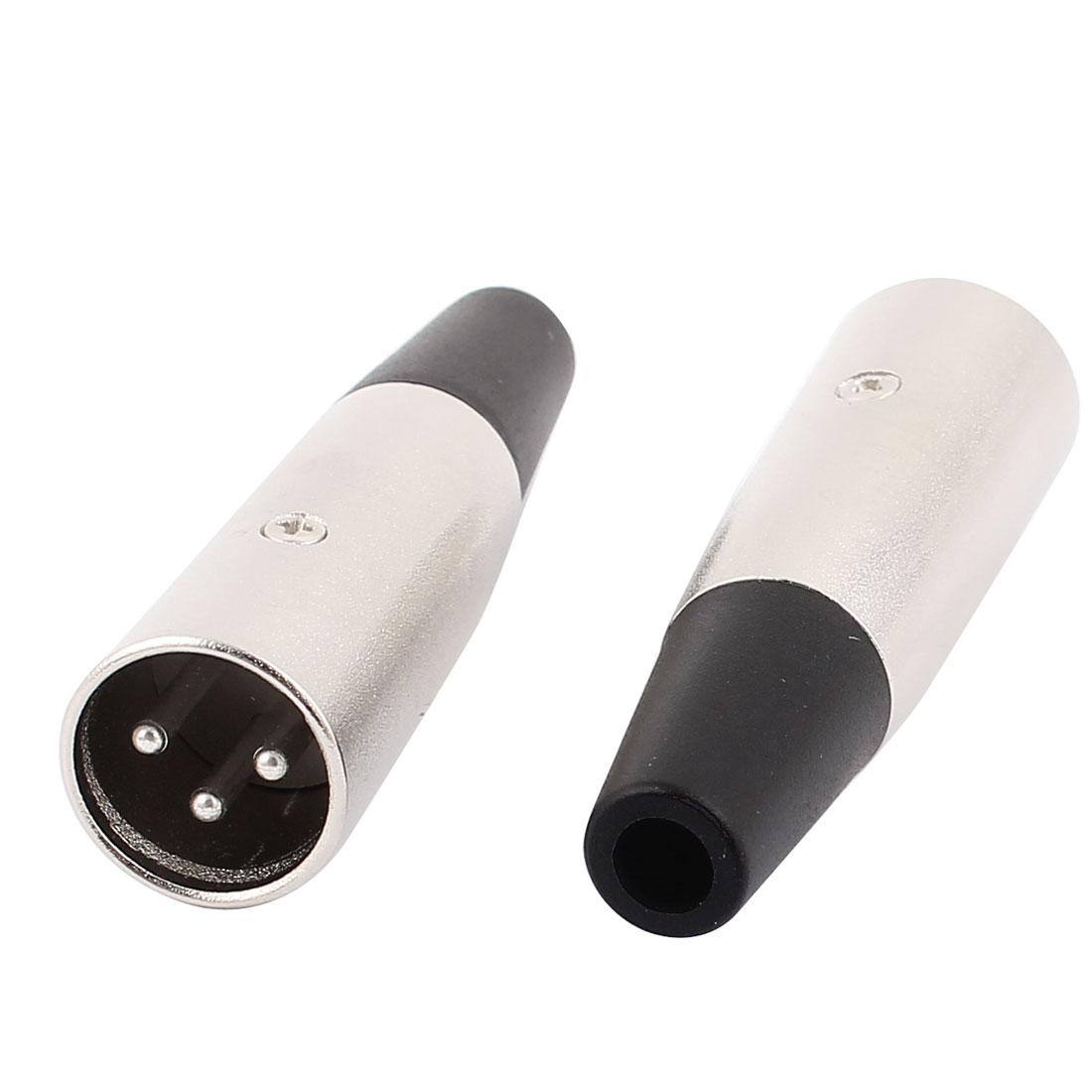 2pcs Microphone Speaker 68mm 3 Terminals XLR Male Audio Cable Connector