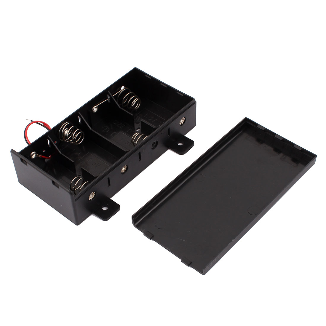 Wire Leaded Plastic Housing Battery Holder Case Cell Box w Slide Cover for 4 x D Size Batteries