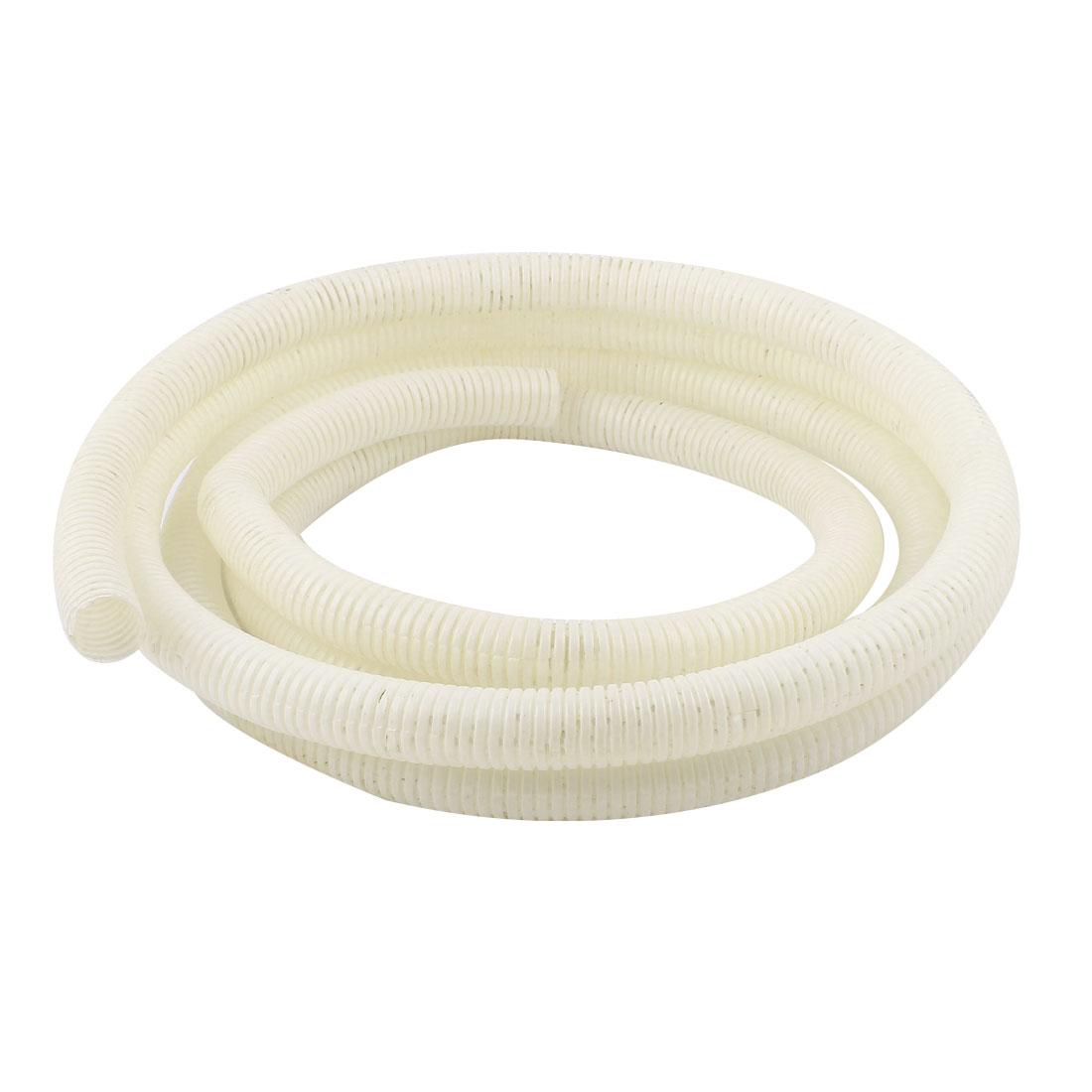 25mm Dia Flexible White PVC Corrugated Wire Tubing Gas Conduit Tube Pipe 3.5M 11ft Long