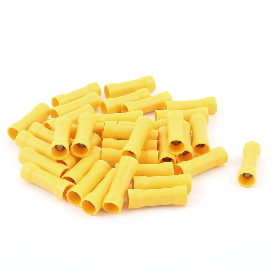 36Pcs Dual Ends Yellow Plastic Sleeve Pre Insulated Female Crimp Wiring Terminal Cable Connector for AWG12-10 Cable