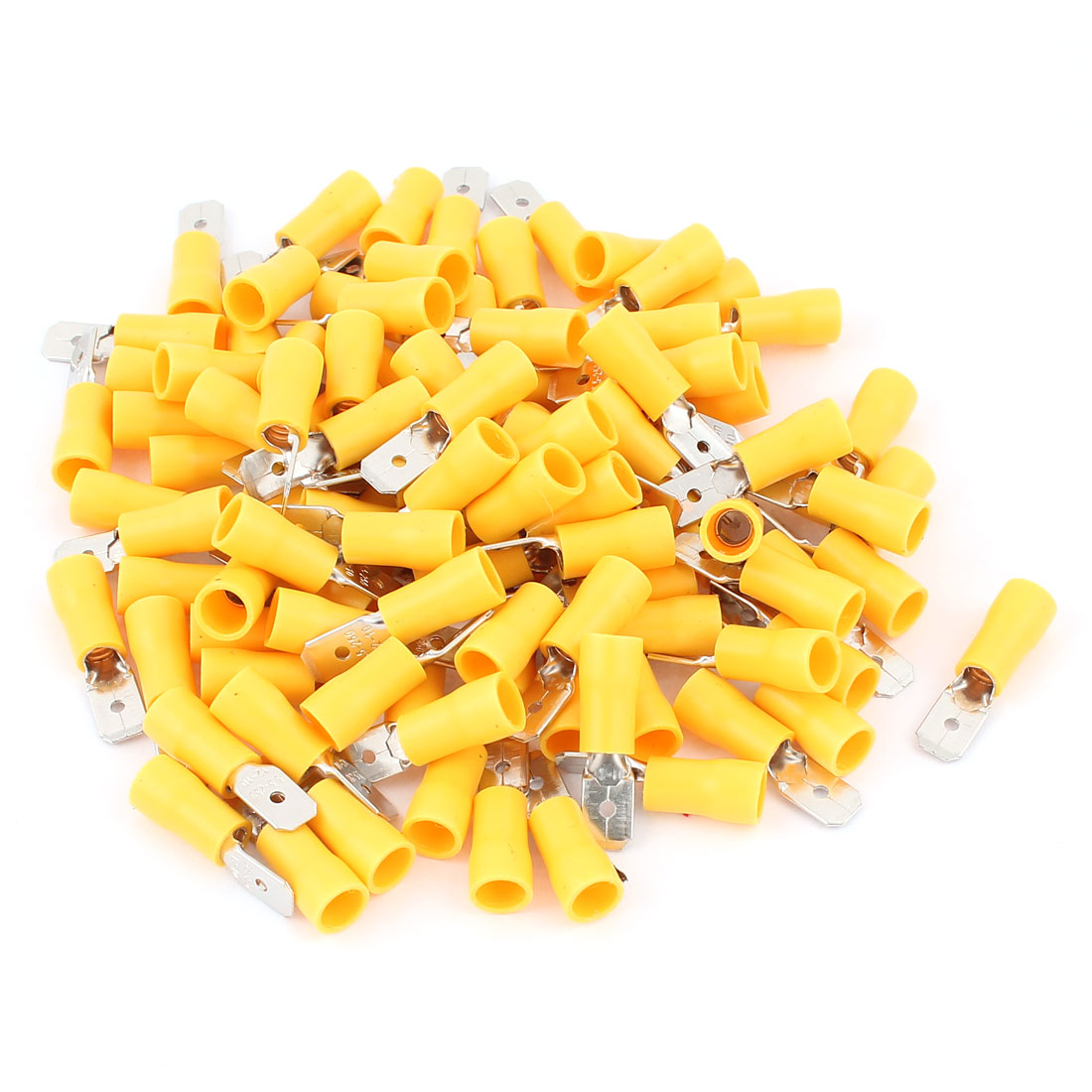 100Pcs MDD5-250 Yellow Plastic Sleeve Insulated Cable Crimp Terminals Connector for AWG12-10