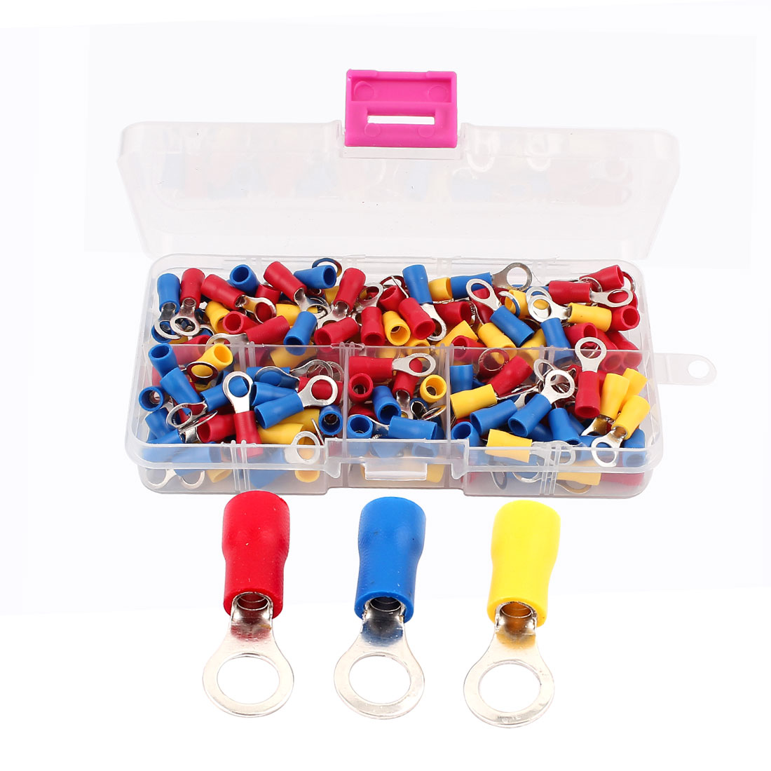 180pcs RVS2-5 Yellow Blue Red Sleeve Pre Insulated Ring Terminals Cable Wiring Connector for AWG 16-14 Wire