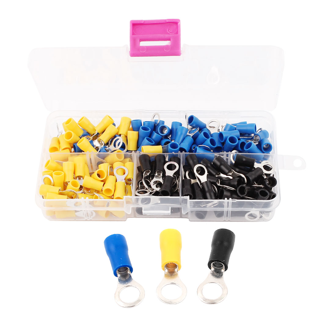 180pcs RVS2-5 Yellow Blue Black Sleeve Pre Insulated Ring Terminals Cable Wiring Connector for AWG 16-14 Wire