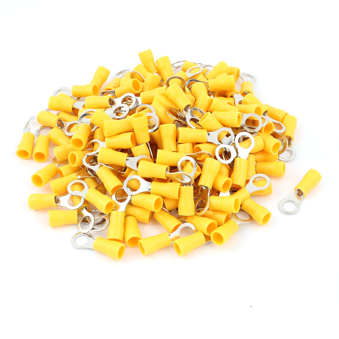 160pcs RVS2-5 Yellow Plastic Sleeve Pre Insulated Ring Terminals Connector for AWG 16-14 Wire
