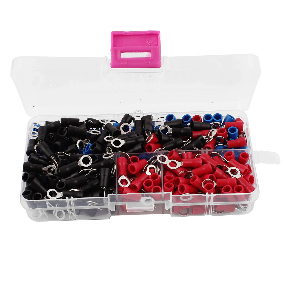 300pcs RVS1.25-4 Red Blue Black Plastic Sleeve Pre Insulated Ring Terminals Wiring Connector for AWG22-16 Wire