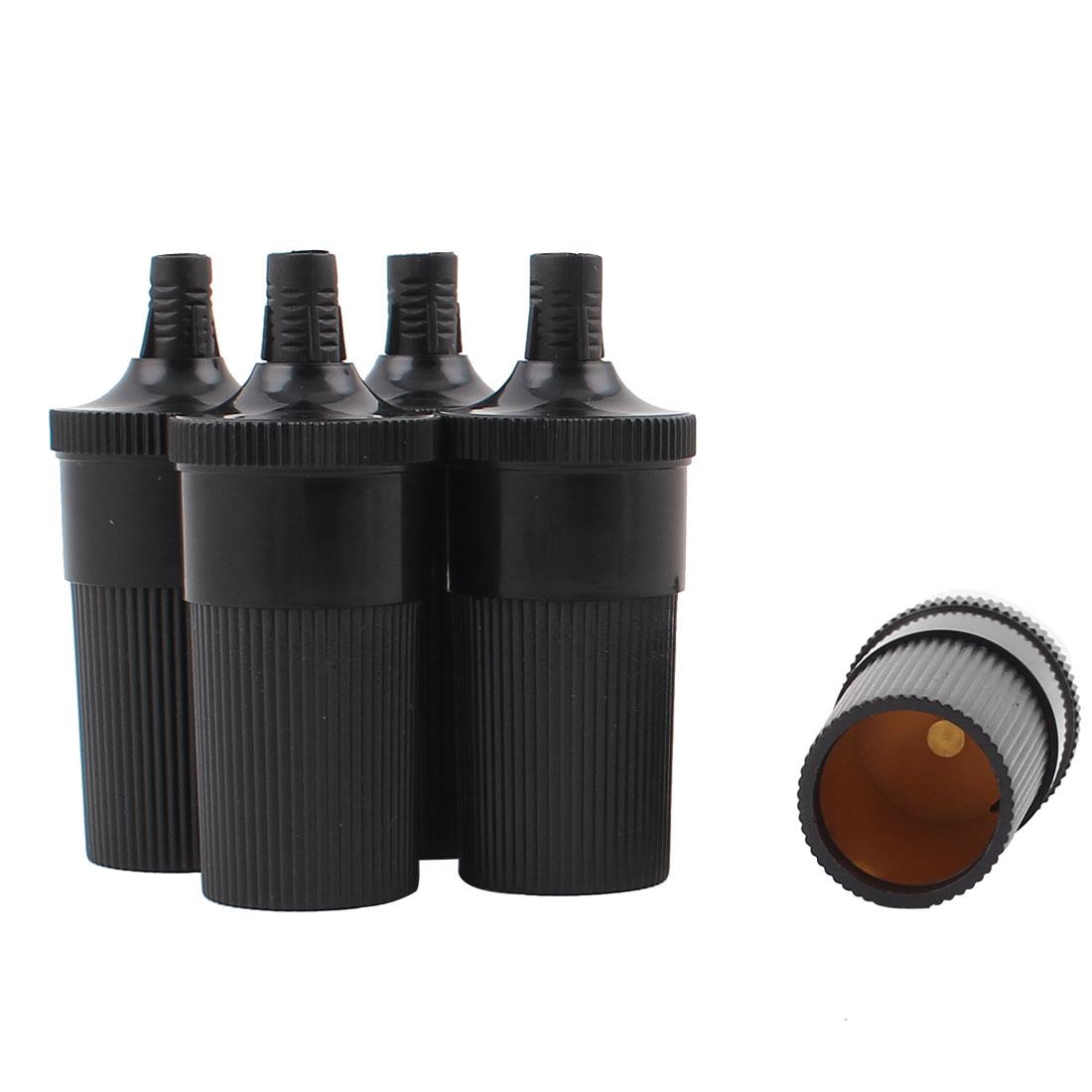 5Pcs Black Plastic Cylinder Power Charger Cigar Cigarette Lighter Socket for Car Vehicle