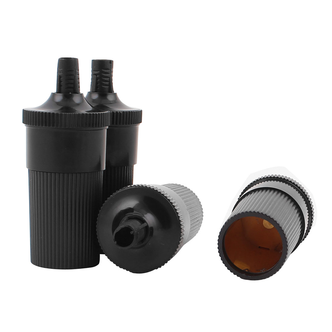 Car Vehicle Black Plastic Cylinder Power Charger Cigar Cigarette Lighter Socket 4Pcs