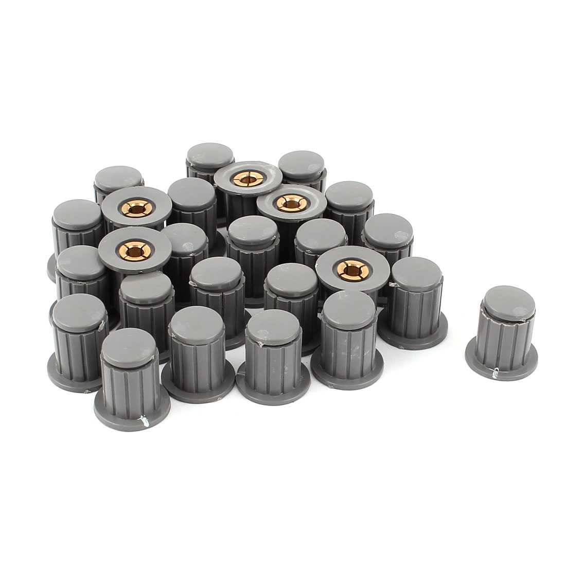 26Pcs Brass Insert Split Hole Gray Plastic Volume Control Potentiometer Knobs Caps for 4mm Shaft