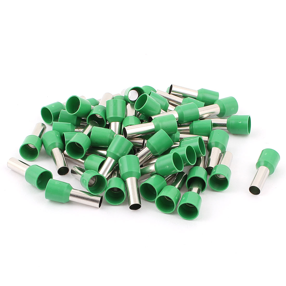 50Pcs E1012 Green Plastic Tube Pre Insulated Bootlace Ferrules Terminals Wiring Connector for 8AWG Cable