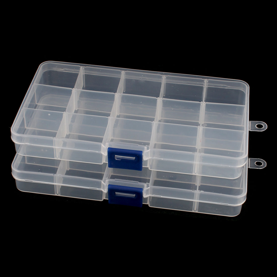 2pcs Detachable 15 Slots Rectangle Plastic Electronic Components Tool Storage Cases Boxes Organizer Holders