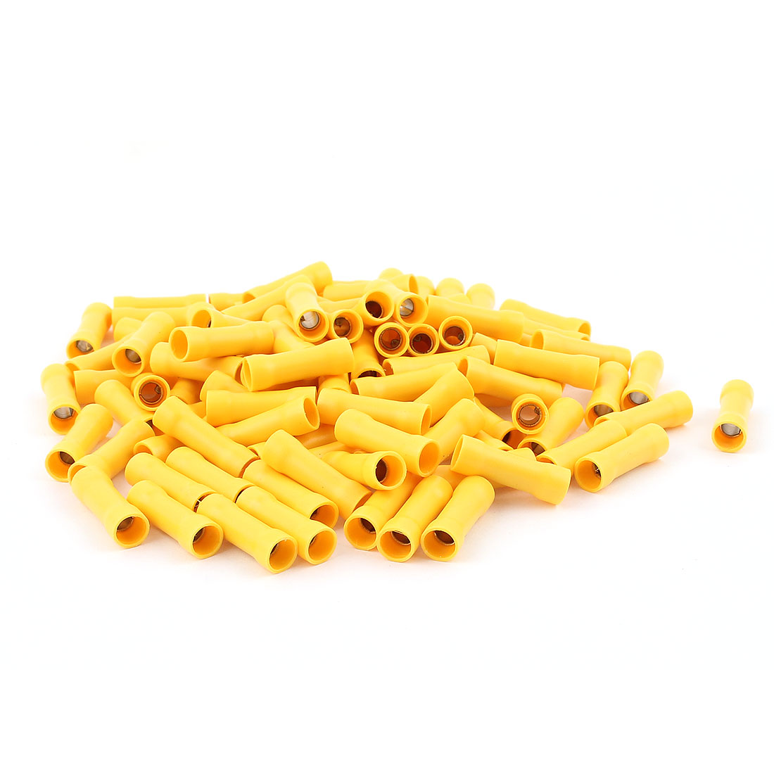110pcs Dual Ends Yellow Plastic Sleeve Pre Insulated Female Crimp Wiring Terminal Cable Connector for AWG12-10