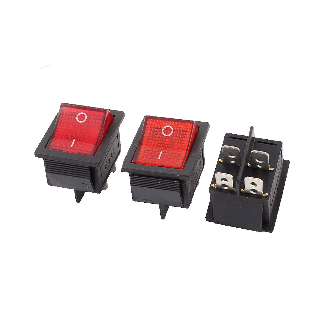 3Pcs DPST 4 Pin Soldering 2 Position Snap in Mounting Red Button Boat Rocker Switch AC 250V 16A 125V 20A