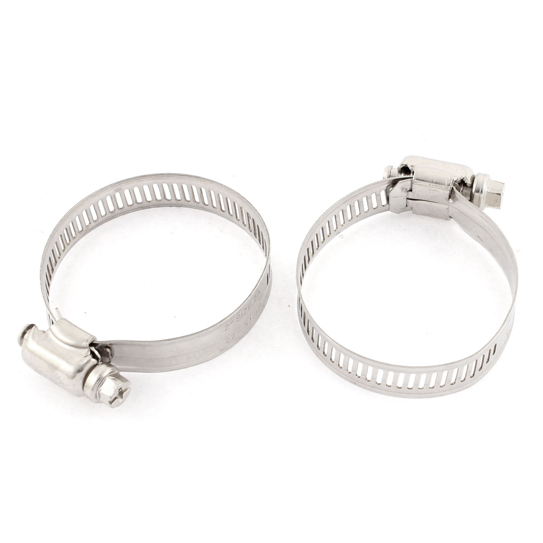 """Adjustable 1""""-2"""" Cable Tight Coolant Hose Pipe Fitting Worm Gear Clamp 2pcs"""