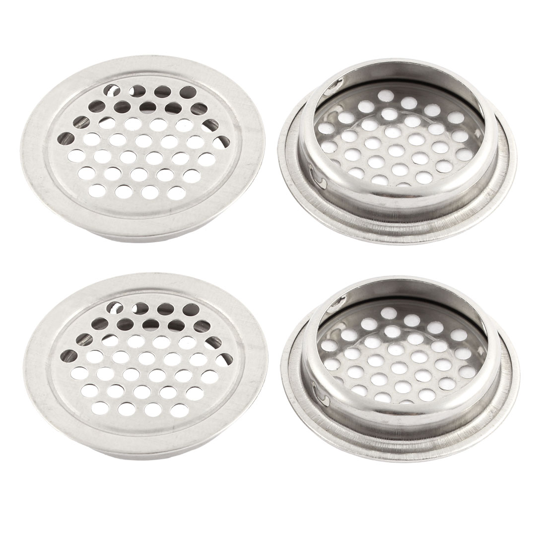 4Pcs 42 x 35mm Round Stainless Steel Perforated Mesh Air Vents Louvers