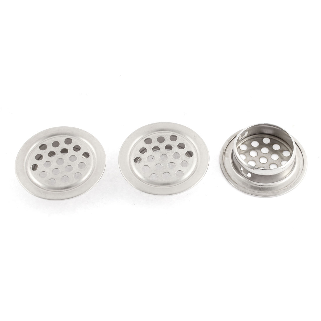 3Pcs 35 x 24mm Round Stainless Steel Perforated Mesh Air Vents Louvers