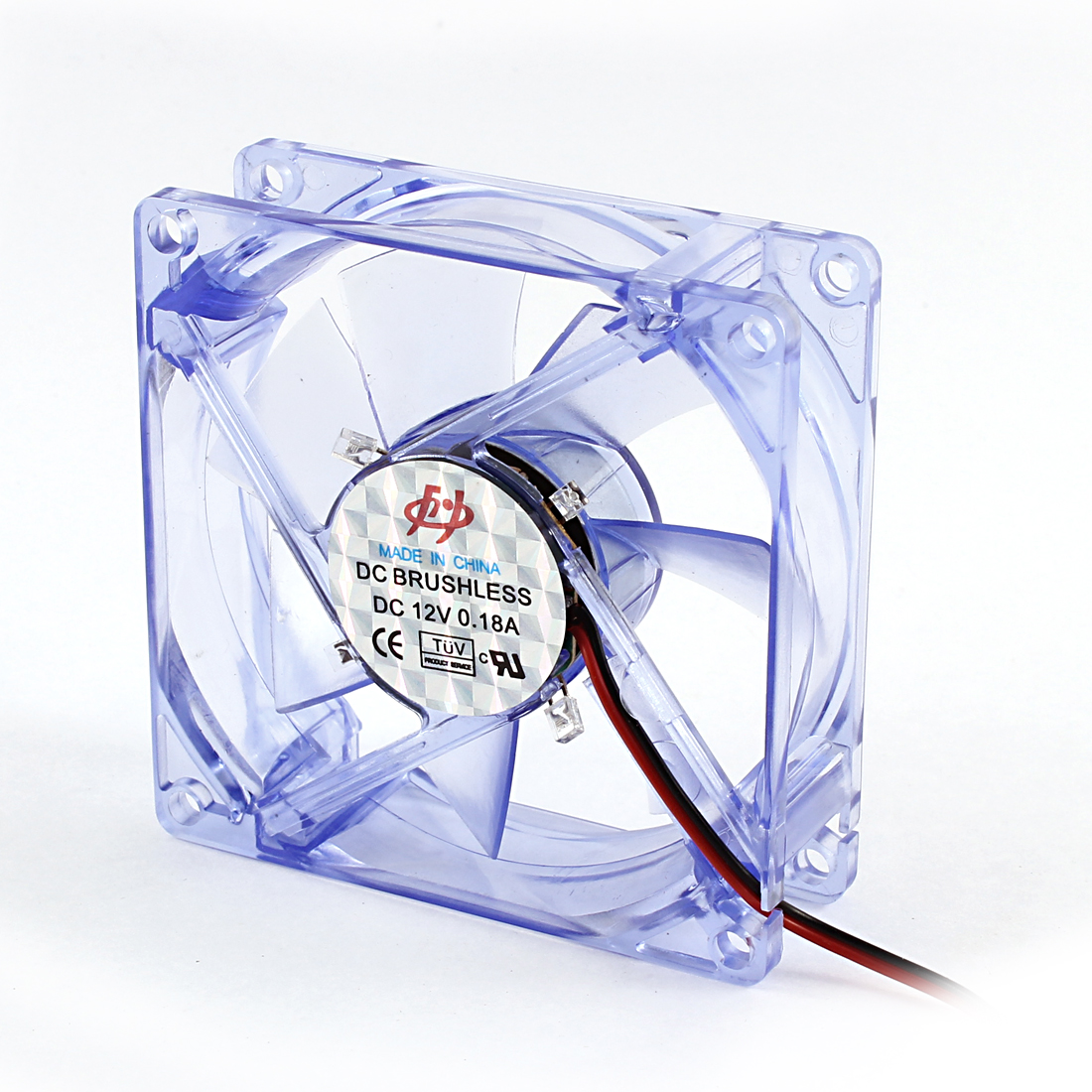 Clear Blue 80mm Square DC Brushless Computer Cooler Cooling Fan 12V 0.18A