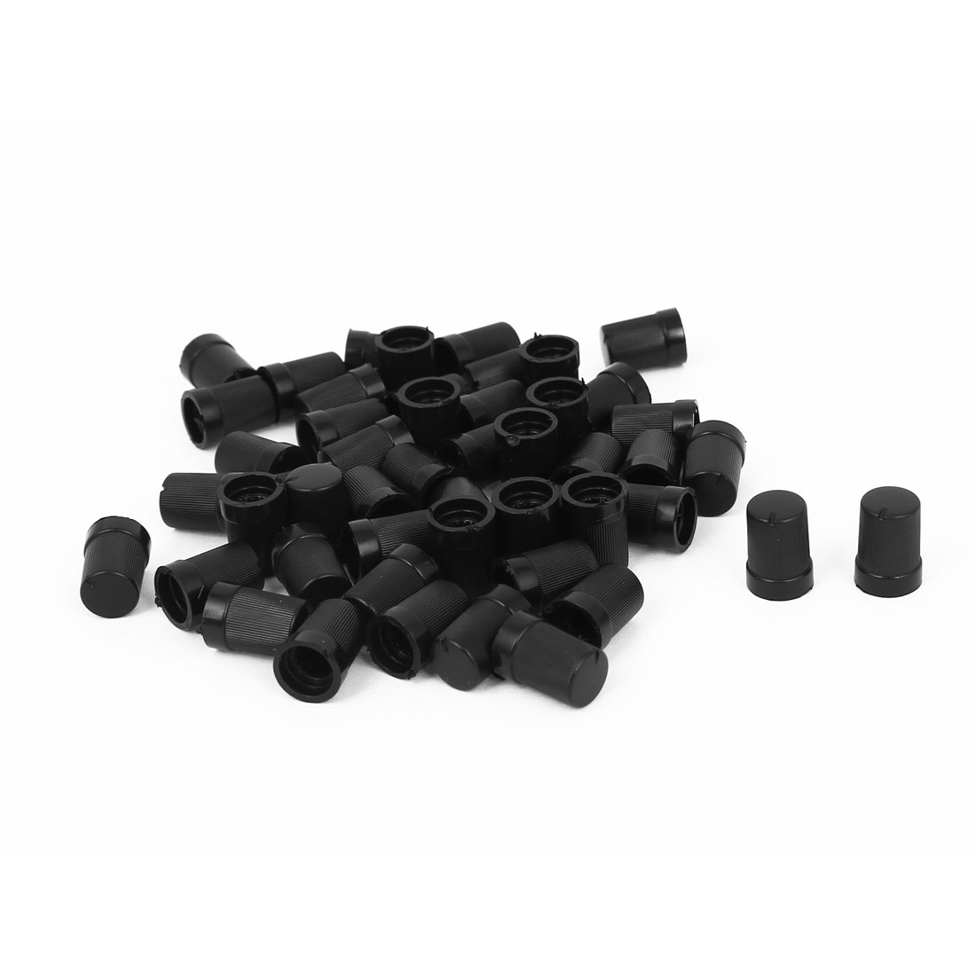 50pcs Black Round Shape Potentiometer Pot Control Knob for 7mm Dia Shaft