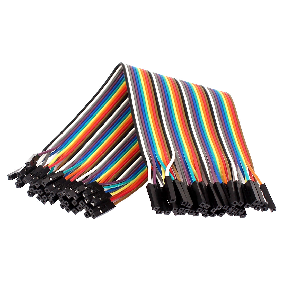 2.54mm Pitch 40 Pin 40 Way F/F Connector Rainbow Ribbon Jumper Cable Wires 20cm