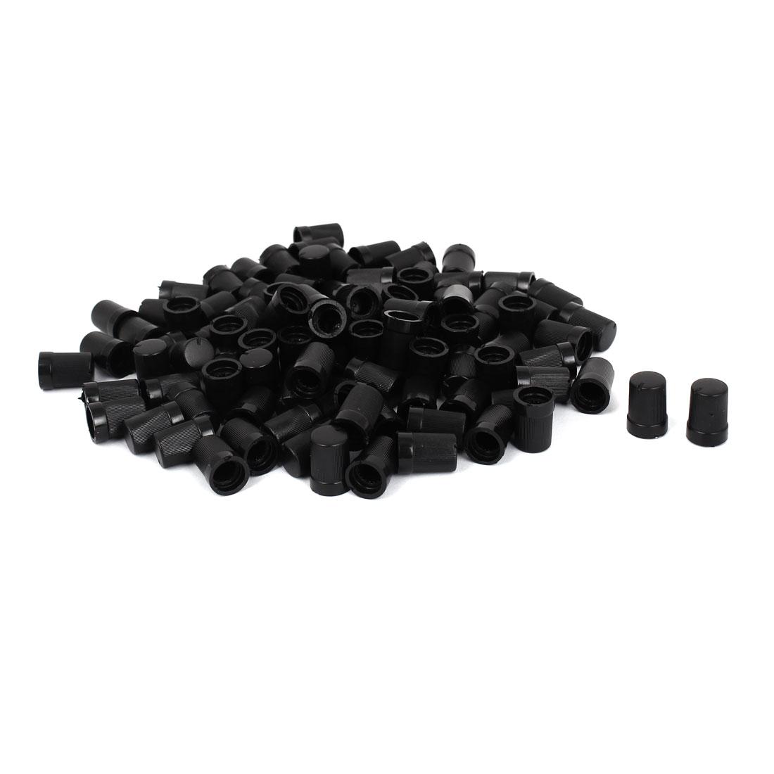 100pcs Black Round Shape Potentiometer Pot Control Knob for 7mm Dia Shaft
