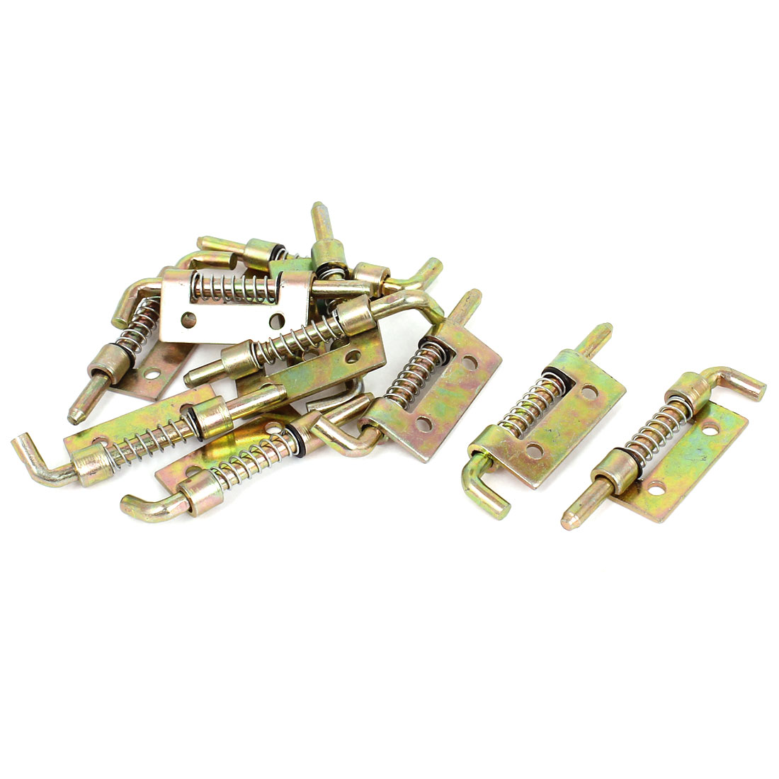 10pcs Cabinet Door Hinges Spring Loaded Metal Left Barrel Bolt Latch 54mm Long