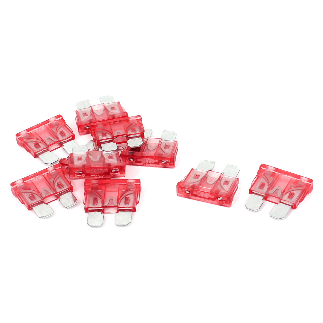 10Pcs 40A Plastic Housing Motorcycle Car SUV ATC ATO Standard Blade Fuse Red